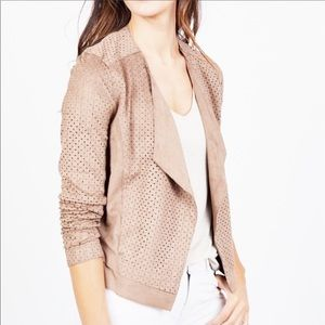 Lyssé Faux Suede Perforated Eyelet Jacket Size S